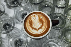 Coffee cup with latte art Rosetta pattern Royalty Free Stock Images