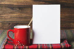 Coffee cup and letter note, plaid blanket red Stock Images