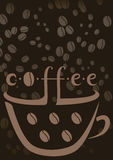 Coffee cup and lettering above it Stock Images