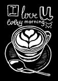 Coffee cup and lettering, white chalk on black  illustration. Royalty Free Stock Photos