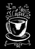 Coffee cup and lettering, white chalk on black  illustration. Stock Images