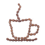 Coffee cup lined with coffee beans Royalty Free Stock Photo