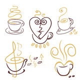 Coffee cup lines. vector. Vector set of coffee cups Royalty Free Stock Image