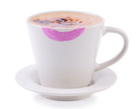 Coffee cup with lipstick print Royalty Free Stock Image