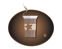 Coffee cup logo symbol isolated on white background. Hot drink in morning. Steaming cup of coffee. Cocoa beans, caffeine. star. Add text Stock Photo