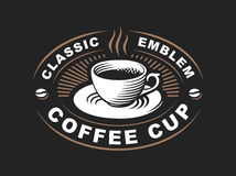 Coffee cup logo - vector illustration, emblem on black background Stock Photography