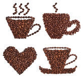 Coffee cup made of beans. On white background Stock Images