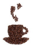 Coffee cup made from beans Royalty Free Stock Images