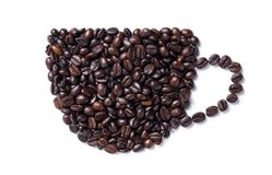 Coffee cup made from beans. Isolated on white background Royalty Free Stock Photo