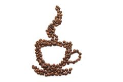 Coffee cup made of beans on white background Stock Image