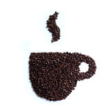Coffee Cup Made of Coffee Beans. Isolated on white background, coffee art Stock Photo
