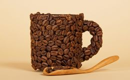 Coffee cup made from grains Royalty Free Stock Image