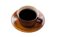 Coffee cup made of wood isolated on white Stock Images