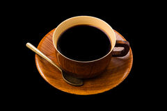 Coffee cup made of wood isolated on white Royalty Free Stock Photography