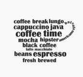 Coffee cup made of coffee words text. Coffee cup shape made of coffee words text. Hipster graphic design illustration stock illustration