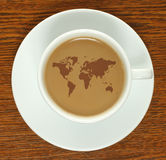 Coffee cup with map Royalty Free Stock Photo