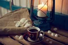 Coffee Cup with Marine Still Life Elements Stock Photography