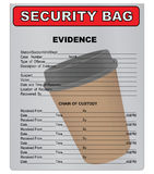 Coffee Cup - material evidence. Coffee cup in a plastic bag for evidence. Vector illustration Royalty Free Stock Image
