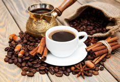 Coffee cup and metal turk Stock Photo