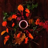 Coffee cup in the middle of flowers and horseshoes. Coffee cup surrounded by colorful autumn leaves, orange calendula flowers and four old rusty horseshoes on Royalty Free Stock Photo
