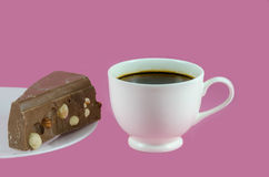 Coffee cup and milk chocolate Royalty Free Stock Images