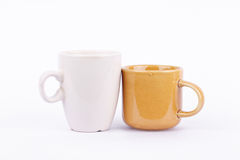 Coffee cup and milk cup on break time Royalty Free Stock Photos