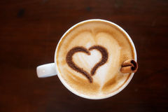 Coffee cup. With milk and heart shape Stock Photo