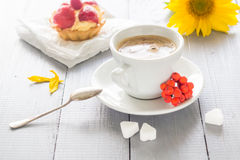Coffee cup milk sweet dessert cake strawberries sunflower rowan Stock Photos
