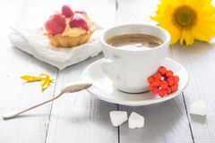 Coffee cup milk sweet dessert cake strawberries sunflower rowan Royalty Free Stock Photo