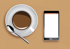 Coffee cup and mobile phone Stock Photo