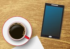 Coffee cup with mobile phone on grunge vintage wooden table, vector illustration Stock Photography