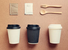 Coffee cup mock up for identity branding from top view Stock Photography