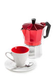 Coffee cup and moka (italian coffee maker) royalty free stock image