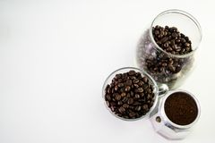 Coffee cup and moka pot, coffee bean. Hot espresso one shot stock photography