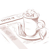 Coffee cup and morning newspaper. Coffee cup of cappuccino with sugar and morning newspaper Royalty Free Stock Photo
