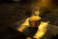 Coffee cup in morning time. Coffee cup to morning with happy time Royalty Free Stock Image