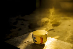 Coffee cup in morning time. Coffee cup to morning with happy time Royalty Free Stock Photo