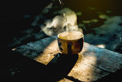 Coffee cup in morning time. Coffee cup to morning with happy time Stock Photography