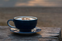 Coffee Cup. Morning coffee cup on wooden table Stock Photography