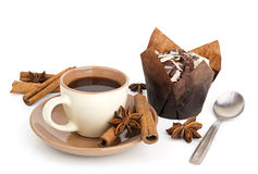Coffee cup and muffin Stock Photos