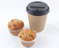 Coffee cup and muffins Stock Photography