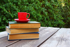 Coffee cup mug and book over wooden table outdoors. selective focus Royalty Free Stock Images