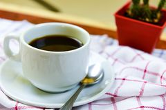 Coffee cup on napkin stock photos