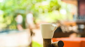 Coffee cup with nature background stock video footage