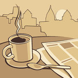 Coffee cup and news paper on table. Vector vintage monochrome illustration. Hand drawn sketch for poster, web, banner Stock Images