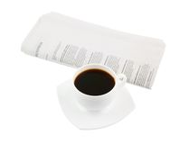 Coffee cup with newspaper Stock Photo