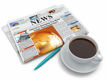 Coffee cup with newspaper. On white isolated background. 3d Stock Image