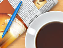 Coffee cup,  newspaper and pen on table Stock Photos