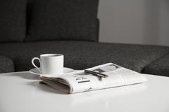 Coffee cup and newspaper Royalty Free Stock Photography
