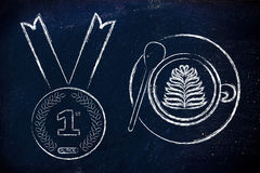 Coffee cup next to number one medal Royalty Free Stock Images